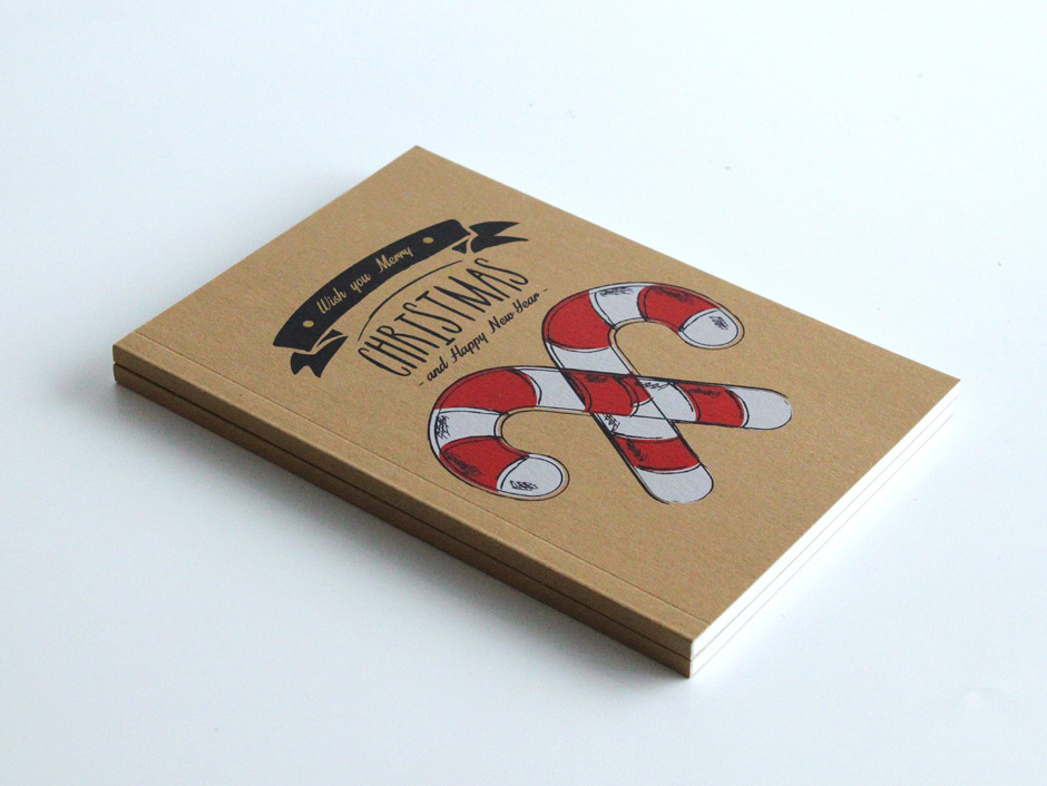 PUR Christmas notebooks with white ink printing on craft paper